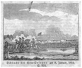 engraving Schacht bei Neu Orleans am 8. January 1815