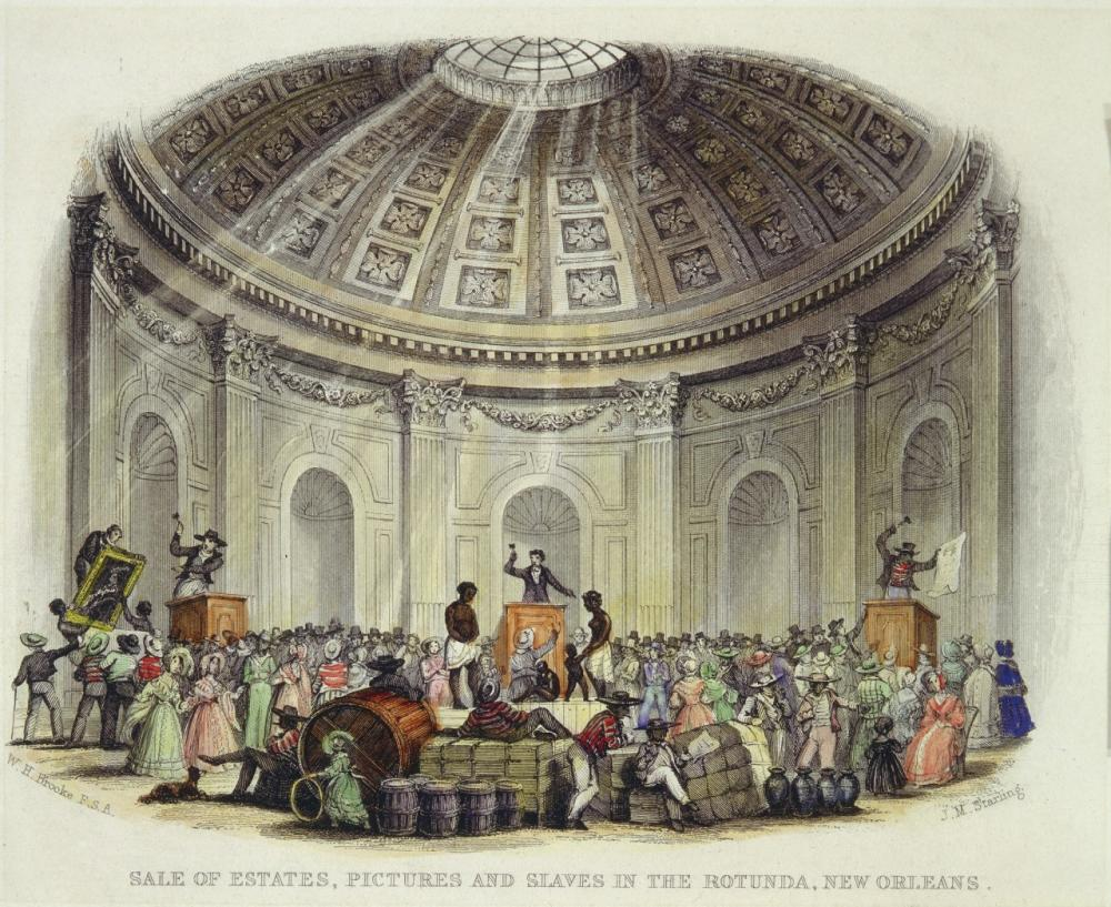 Sale of Estates, Pictures and Slaves in the Rotunda, New Orleans