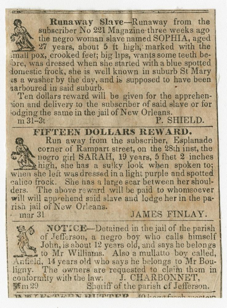 Newspaper clipping showing two runaway slave notices and one notice of slaves being detained in prison to be retrieved by their masters