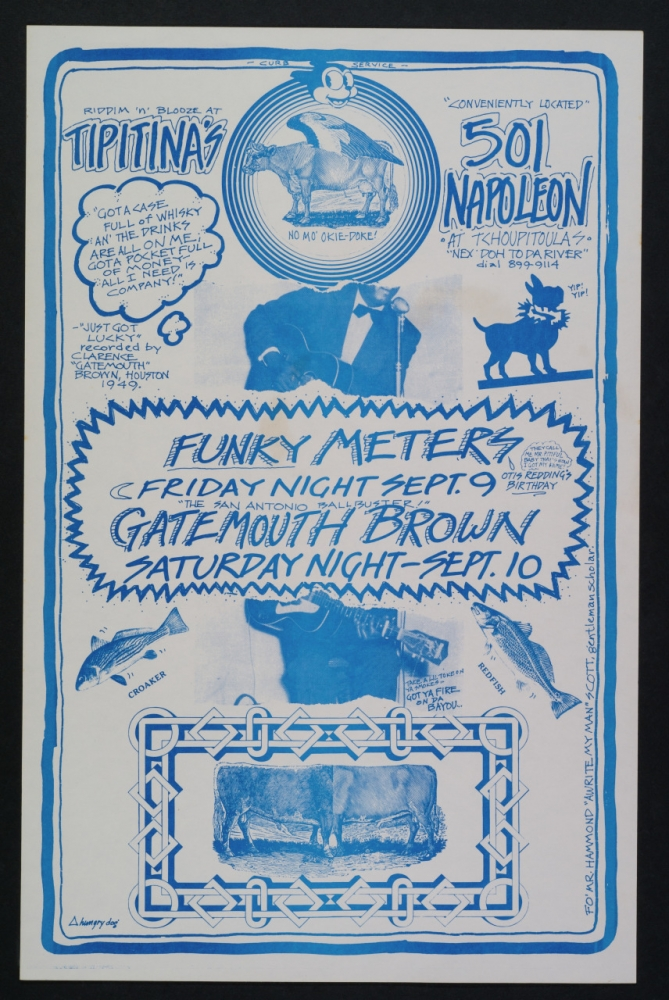 A 1977 poster by Bunny Matthews advertises Riddim 'n' Blooze at Tipitina's.