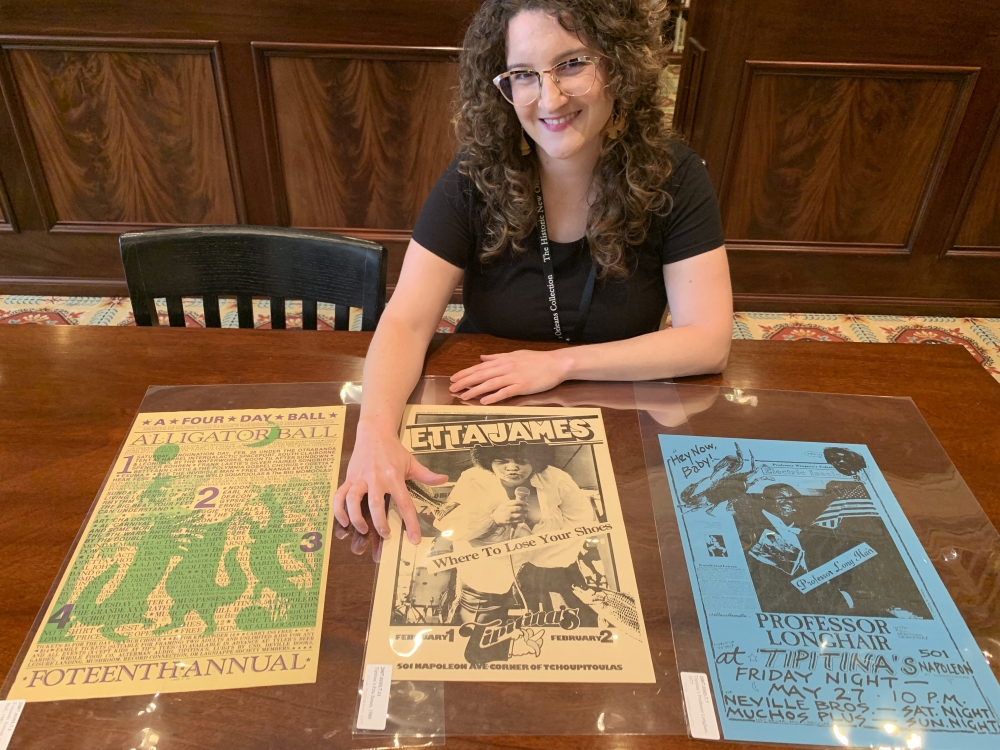 Cutatorial cataloguer Emily Perkins with Tipitina's posters