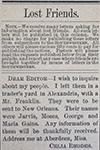 Lost Friends: Advertisements from the Southwestern Christian Advocate