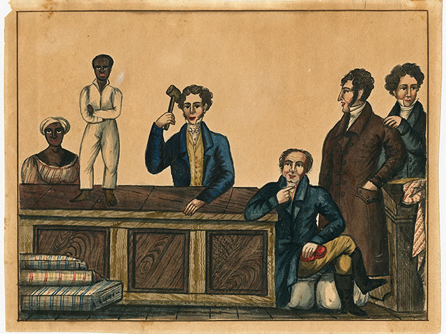 Slave Auction; ca. 1831; ink and watercolor; The Historic New Orleans Collection, 1941.3
