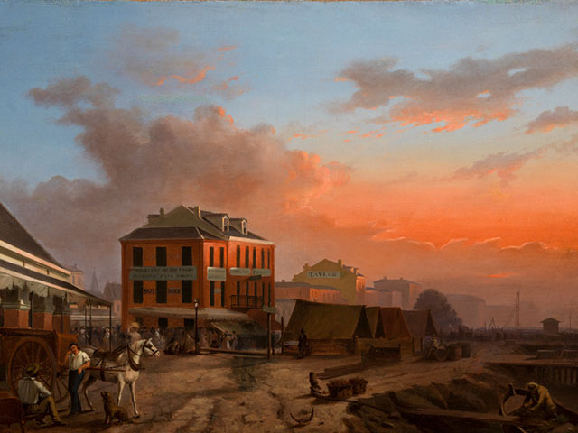 French Market and Red Store; between 1841 and 1844; oil on canvas by Louis Dominique Grandjean Develle; The L. Kemper and Leila Moore Williams Founders Collection, THNOC, 1948.1