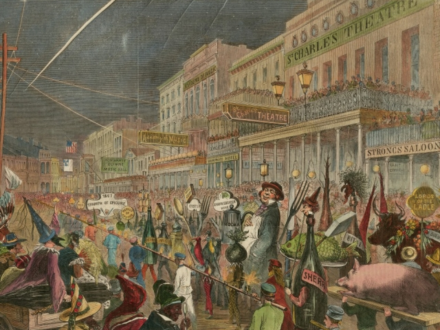An 1867 drawing shows a colorful Mardi Gras procession.