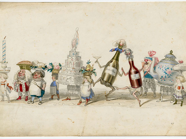 Twelfth Night Revelers pageant design; created for January 6, 1871; watercolor by Charles Briton; THNOC, 1975.117.9