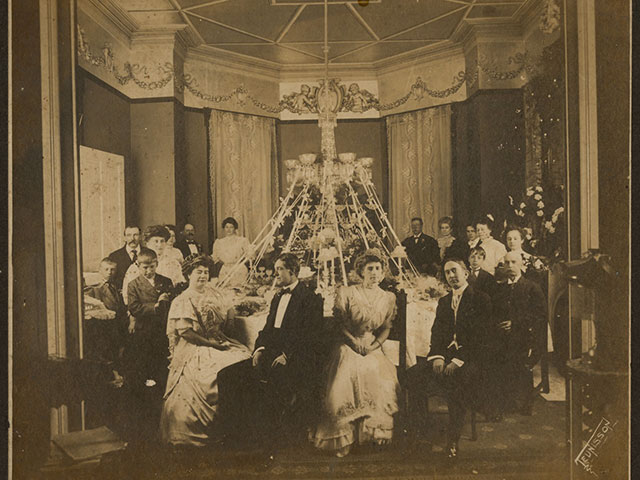 Birthday celebration for Josie Arlington (seated at left); February 8, 1908; gelatin silver print by John N. Teunisson, photographer; The Historic New Orleans Collection, gift of anonymous donor, 1993.55