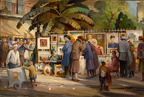 The Spring Fiesta Art Show; 1941; oil on canvas by Clarence Millet (1897–1959); The Historic New Orleans Collection, gift of Laura Simon Nelson, 1996.122.1
