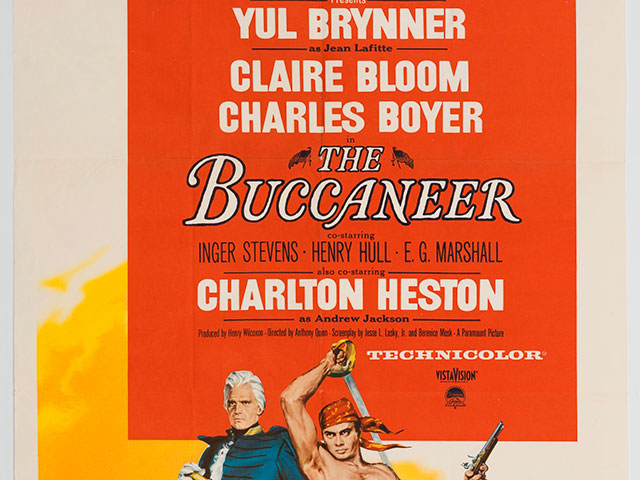 One-sheet poster for The Buccaneer; 1958; New Orleans and Louisiana in Film Collection at The Historic New Orleans Collection, 2012.0093.4