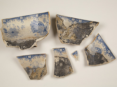 Plate sherds; between 1830 and 1860; ceramic; The Historic New Orleans Collection, 2016.0145.1.15 a-f