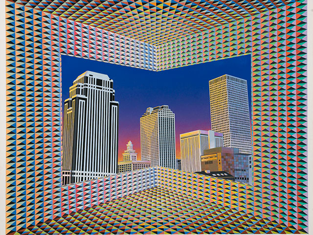 Cityscape; 1987; gouache on paper by Krista Jurisich; The Historic New Orleans Collection, gift of Judith L. Jurisich, 2017.0021