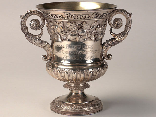Sugar Bowl trophy; 1825 or 1826; sterling silver by Rebecca Emes and Edward Barnard (London); courtesy of the Sugar Bowl, LI-000138