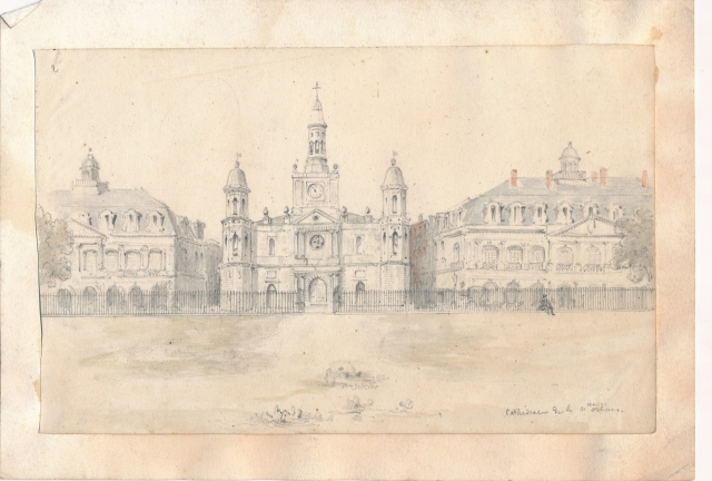 Cabildo, St. Louis Cathedral, and Presbytère; between October 1848 and February 1849; pencil and watercolor on paper; by Gaston de Pontalba; courtesy of Baron de Pontalba