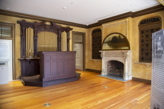 The organ room at The Historic New Orleans Collection's exhibition center features a restored Aeolian pipe organ.
