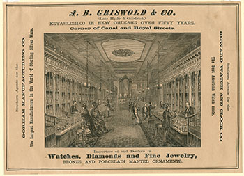 A. B. Griswold and Co. advertisement; by John William Orr, engraver; wood engraving from Jewell's Crescent City Illustrated; New Orleans, 1874; The Historic New Orleans Collection, 1951.41.23