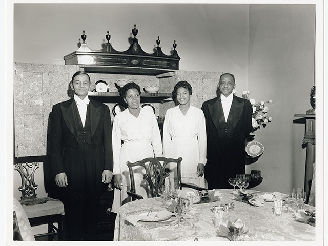 Ike Chapman, Lillian Moore, Dorothy Quick, and Lawrence Jacobs; December 24, 1959; Williams Residence working files