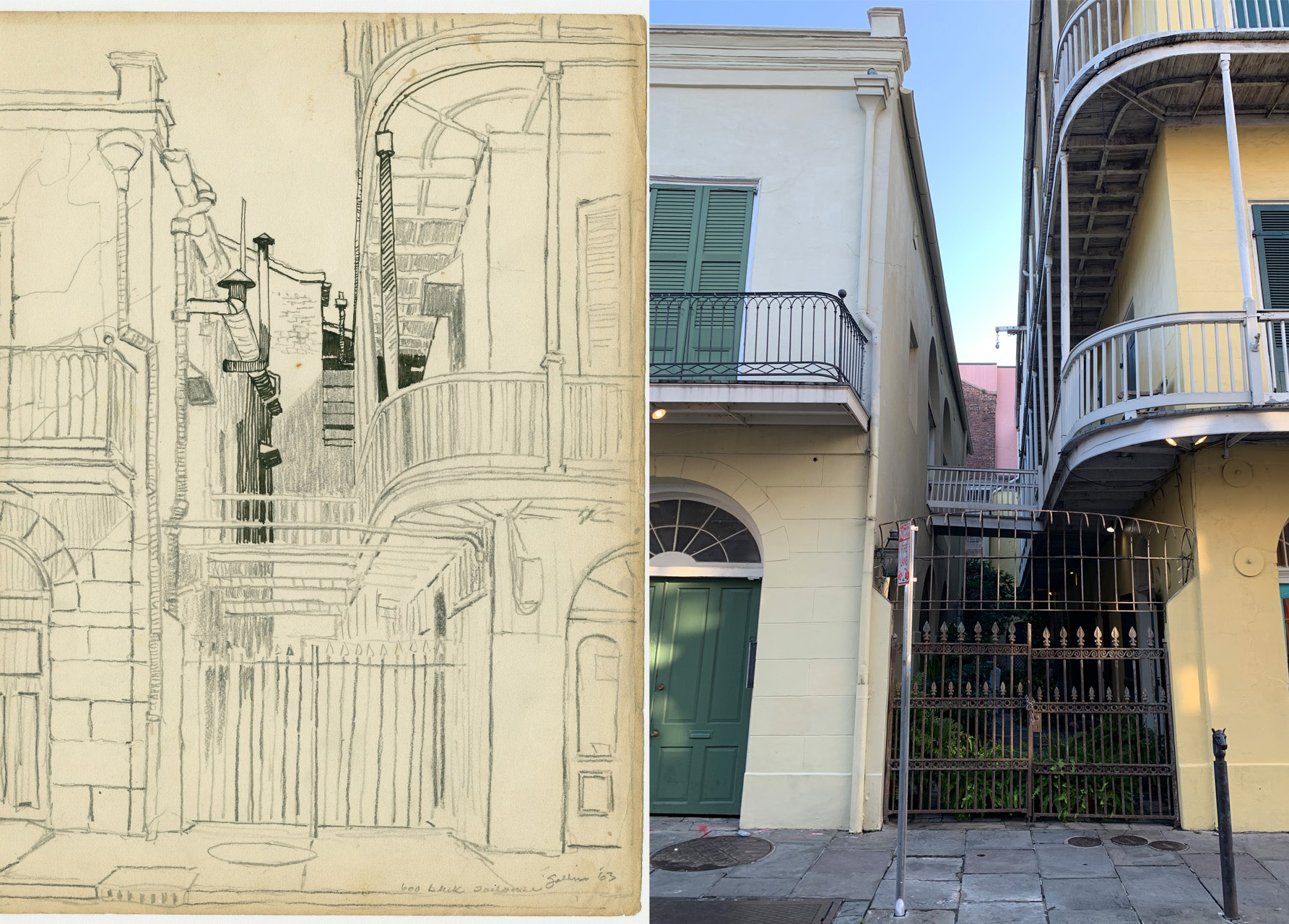 A sketch of properties on the 600 block of Toulouse Street, alongside a modern-day photograph