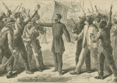 A sheet from Harper's Weekly with an illustration depicting a man representing The Freedmen's Bureau protecting black southerners from white southerners. The Freedmen's Bureau was dismantled in July 1868.