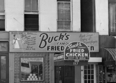 The Buck's Famous Fried Chicken location on Galvez Street had a sign that depicted Buck Fulford's fried chicken feat.