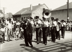 The Eureka Brass Band marches in a funeral for the Dukes of Caldonia Aid and Pleasure Club.