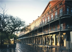 The Upper Pontalba building on Jackson Square was built between 1848 and 1851. Its red brick facade and cast iron balconies are iconic emblems of the French Quarter.