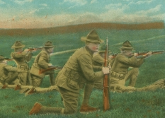 A postcard depicts soldiers training at Camp Beauregard in Alexandria, La.