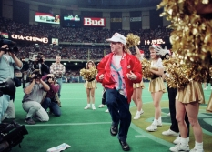 Seth Green dances on the field of the Superdome during halftime of a Saints game in 1991