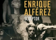 The book cover of Enrique Alférez: Sculptor features the artist sitting in his studio.