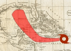 """An 1812 map is superimposed with a modern-day recreation of a hurricane's """"cone of uncertainty."""""""