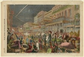"Procession of the ""Mystic [sic] Krewe of Comus""; 1867; wood engraving with watercolor by James Earl Taylor, delineator; The Historic New Orleans Collection, 1974.74.5"
