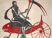 Death Riding on a Red Fish; 1974; woodblock on paper mounted on canvas by Ben Smith, printmaker; The Historic New Orleans Collection, gift of Eugene C. Daymude, 2010.0187